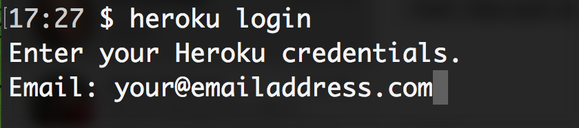 Login via the terminal to Heroku