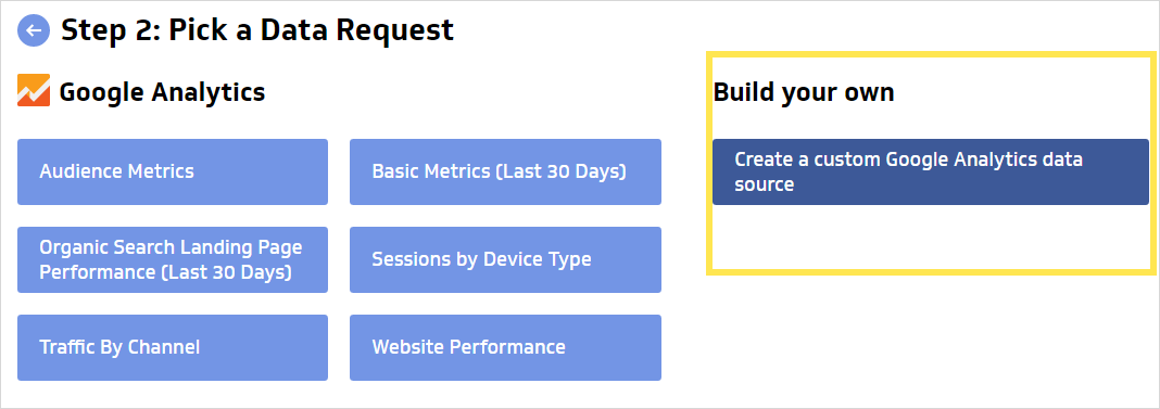 create custom google analytics data source