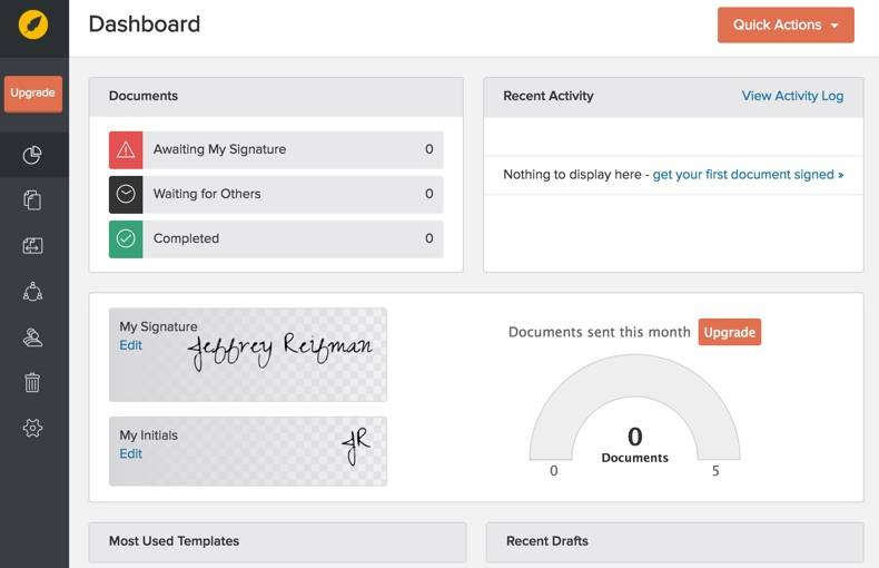The eversign Dashboard