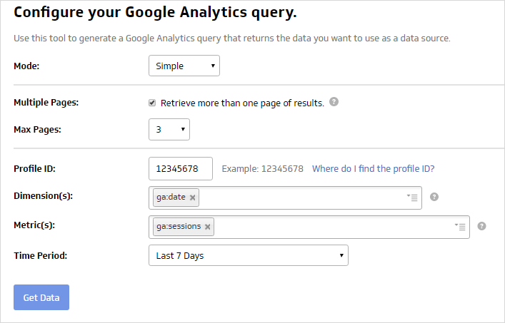 google analytics query setup