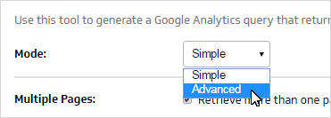google analytics query advanced mode