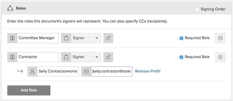 Configure a template - add the roles for the document