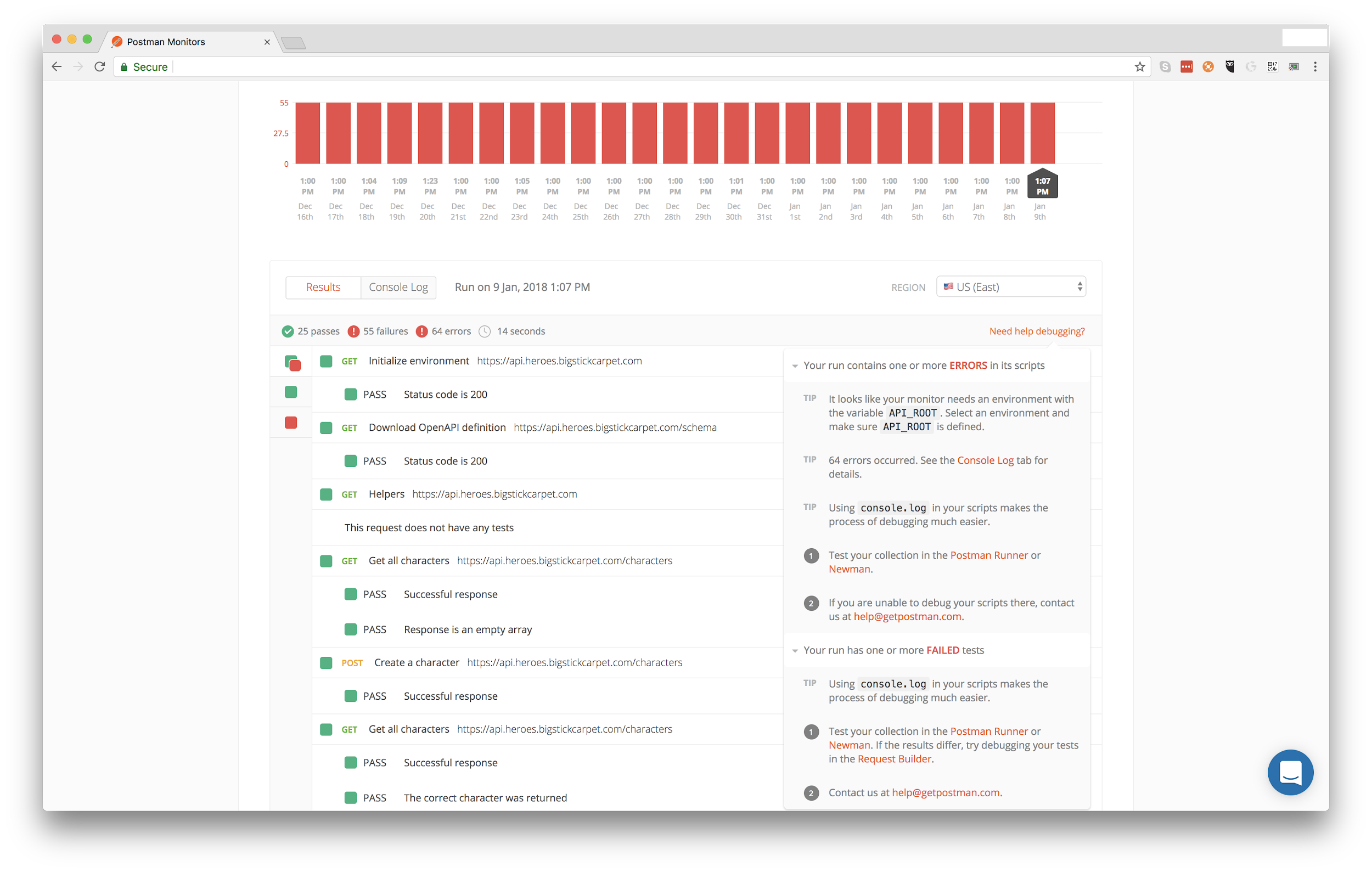 Postman's monitoring dashboard allows you to get the big picture of every monitor you or your team runs on your API.