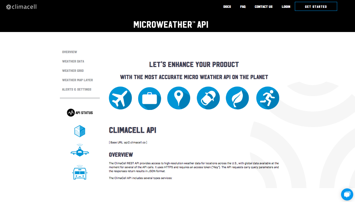 ClimaCell Microweather API docs page