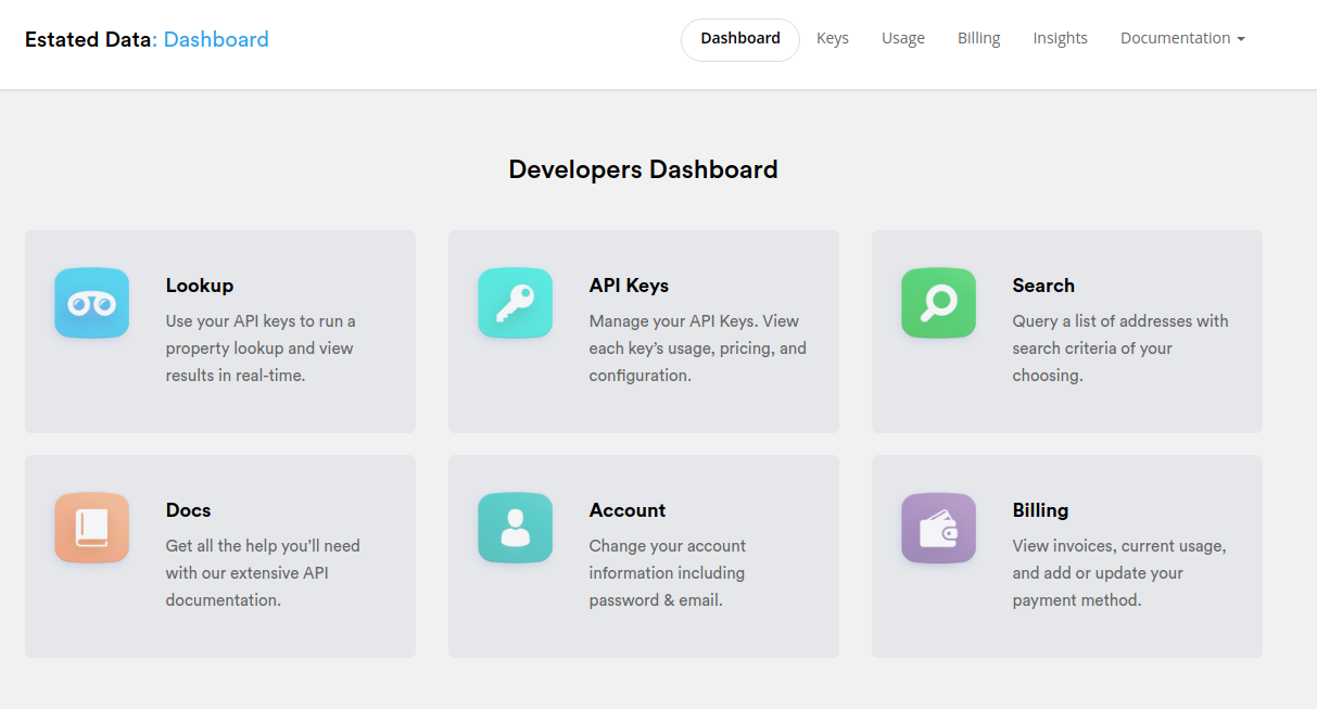 Estated API Developers Dashboard