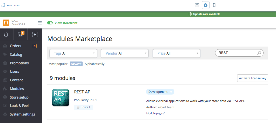 Find the REST API module right within the administrative back end of your store.