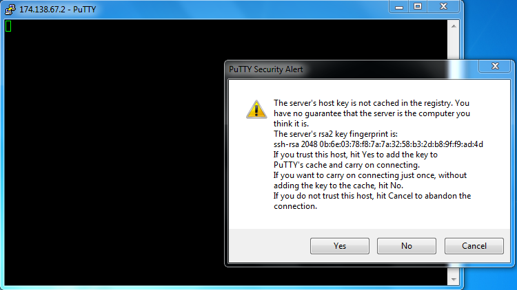 PuTTY security alert