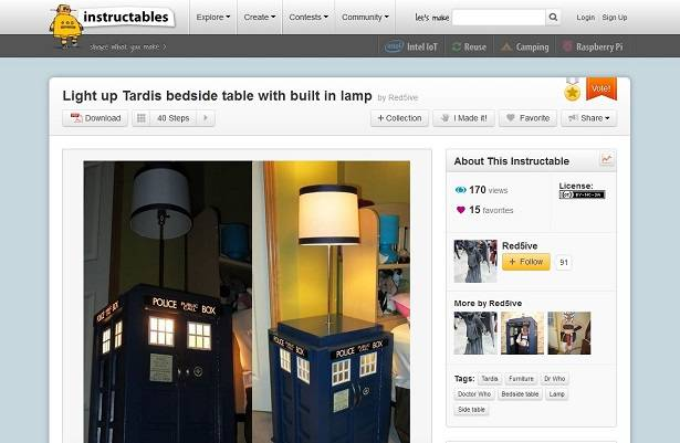 Get access to Instructables projects like this Tardis table from the unofficial API