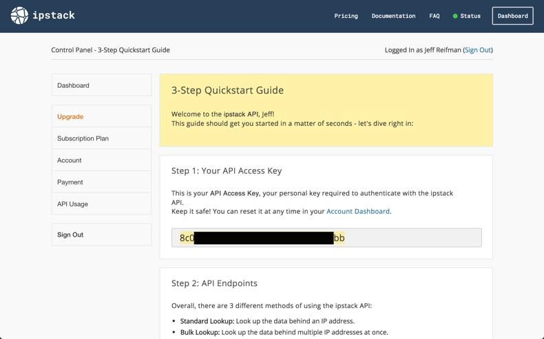 3-step quickstart guide at ipstack after sign up.