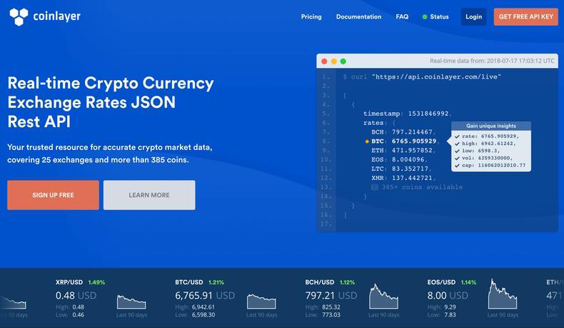 cryptocurrency live prices api