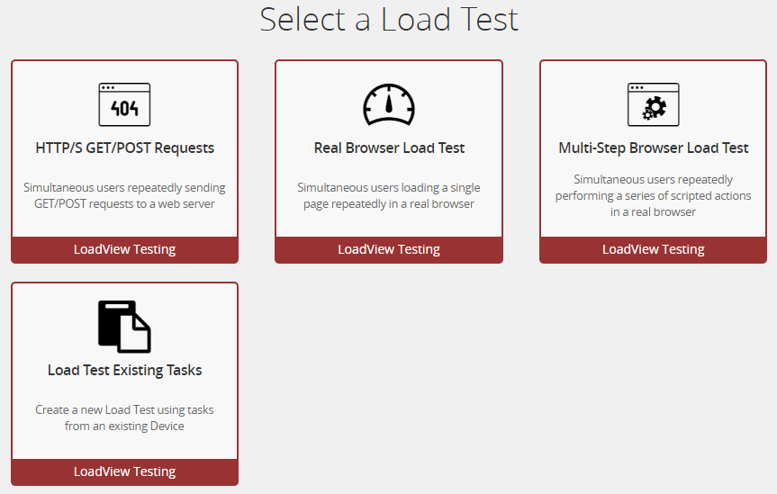 Figure 1: Here you can see the three different options for creating a new load test.