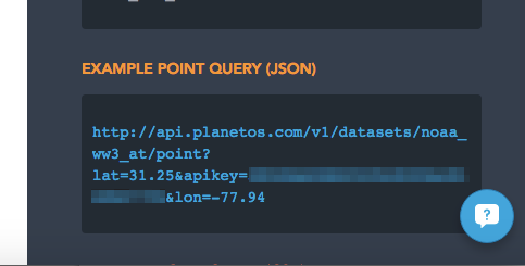 Partial screenshot from PlanetOS.com developer portal that shows how example code in the documentation is prepopulated with API key and current longitude