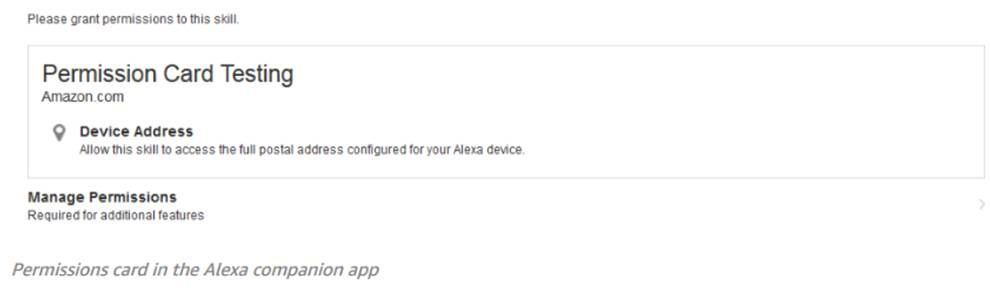 What a customer sees when prompted with the Alexa Device Address API