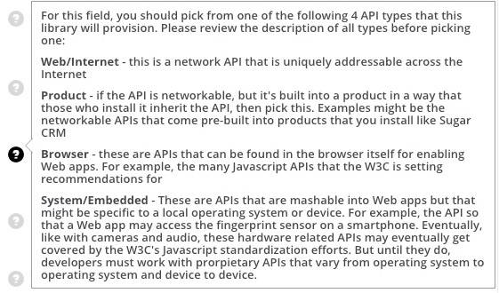 Help Text Showing the Different Types of APIs on Programmable Web