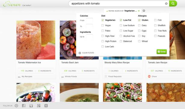 Edamame API provides nutrition parameters for recipe search