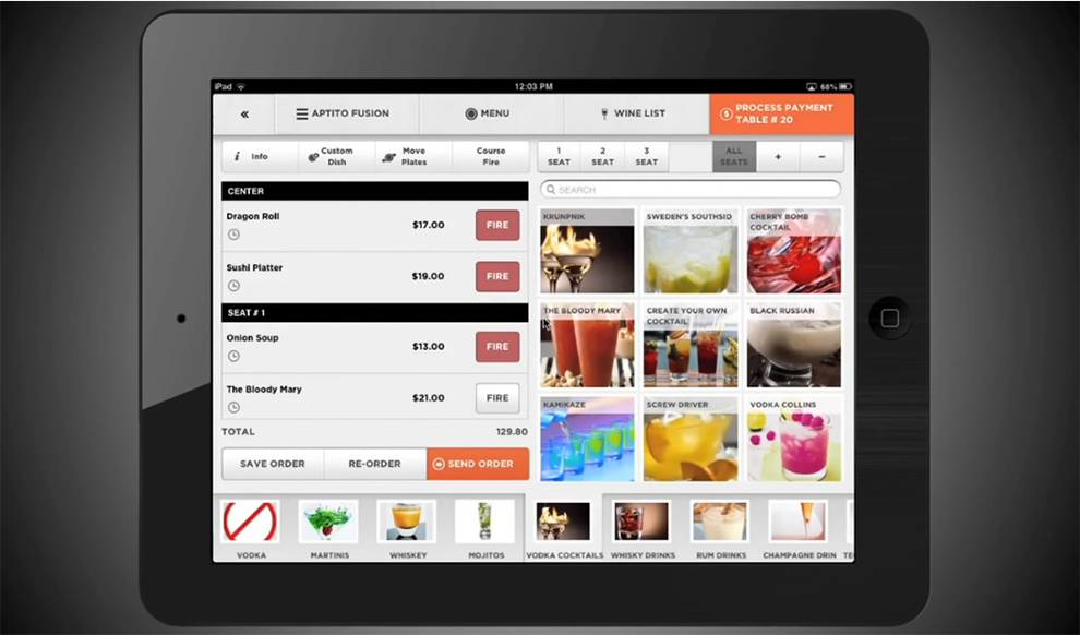 Aptito ordering and payment system for restaurants