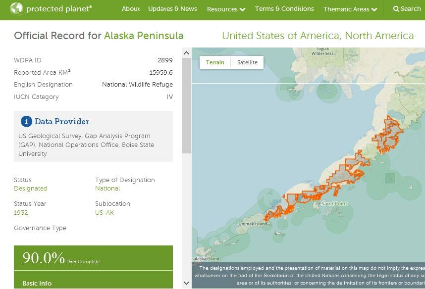 Protected Planet API gives data of protected places