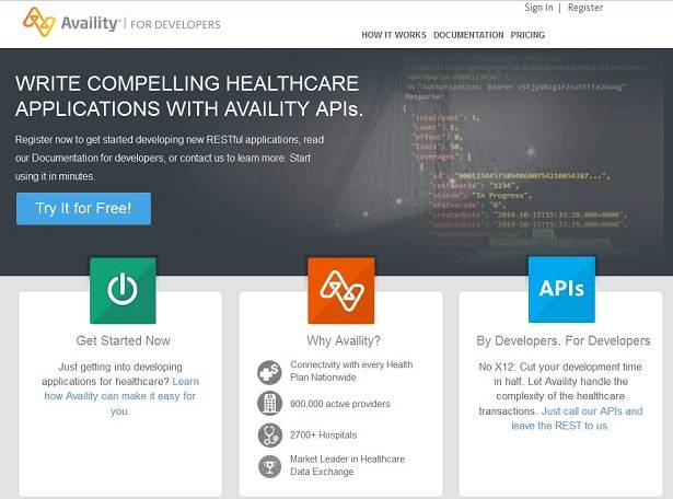Availity healthcare portal API is available