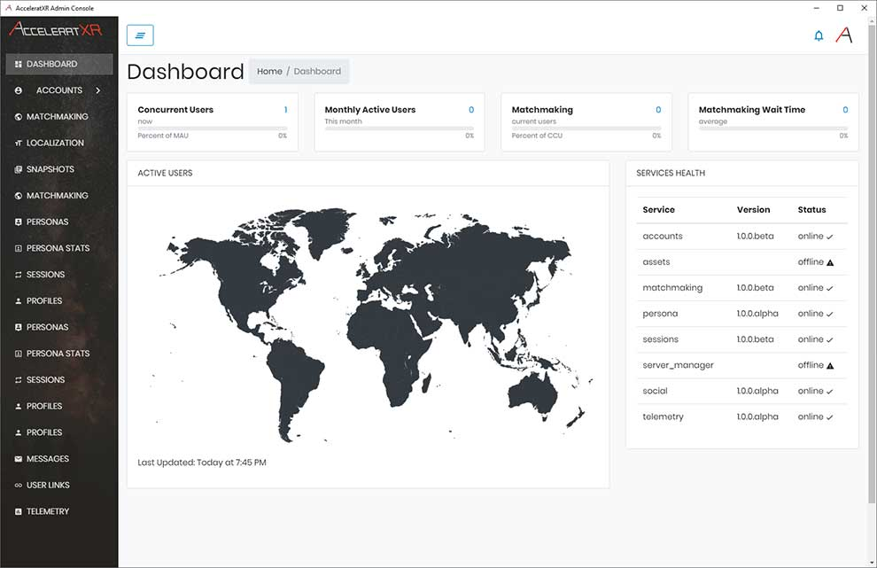 AcceleratXR provides a demo of its online dashboard and administration console