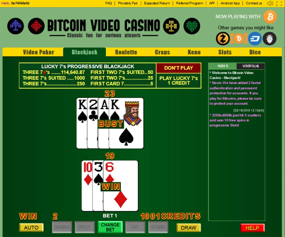 Retrieve data about bitcoin casino games such as Blackjack from this API