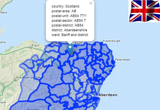 Results of a postal boundry query from the uk.boundaries.io API