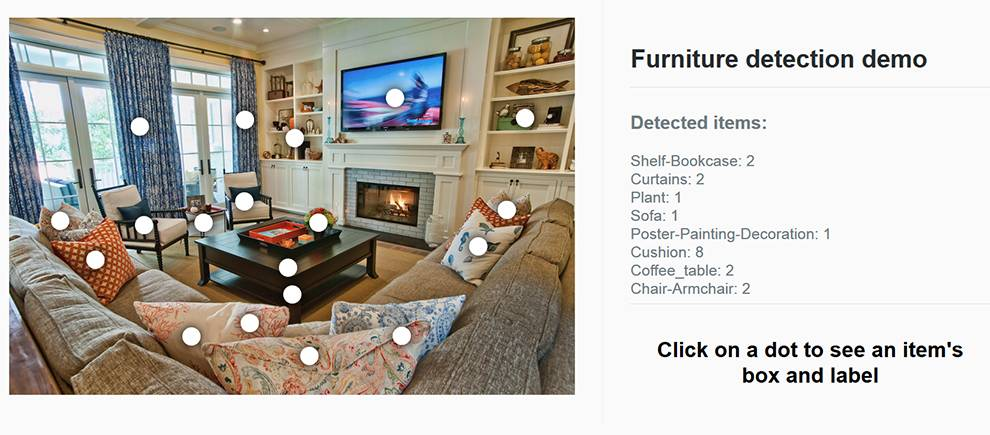A demo on Deepomatic's website illustrates their Furniture Detection API