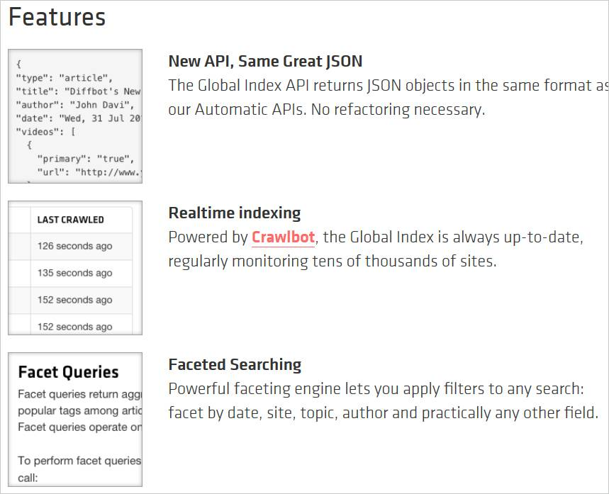 Features of Diffbot Global Index include realtime indexing