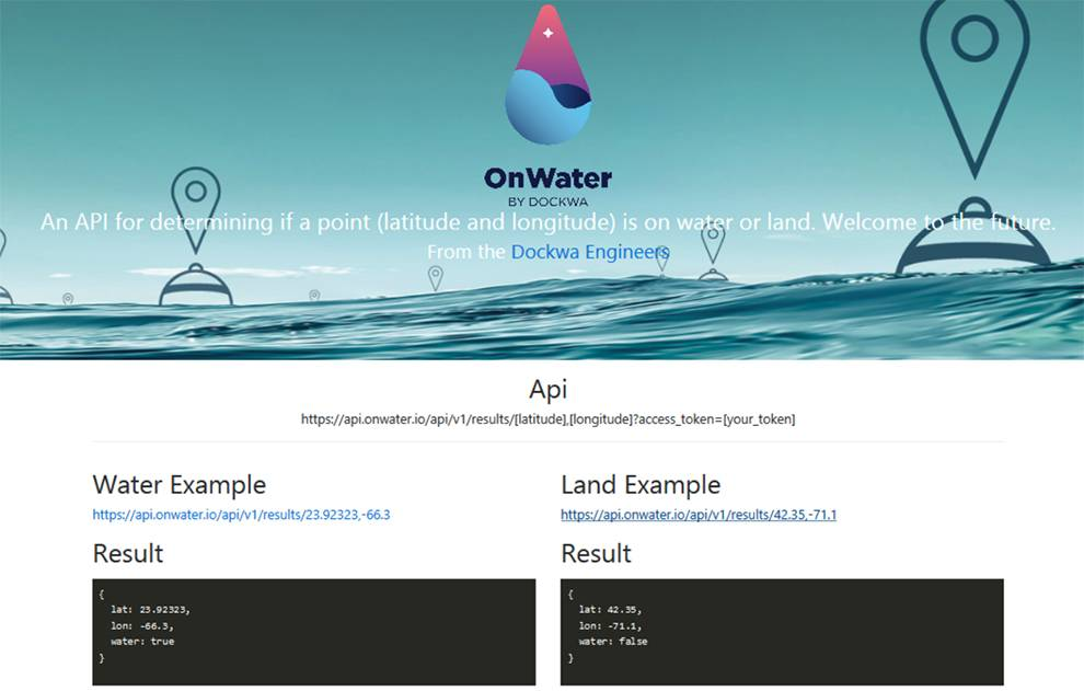 Dokwa OnWater API available