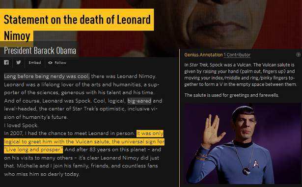 President Obama's statement on Leonard Nimoy annotated with Genius