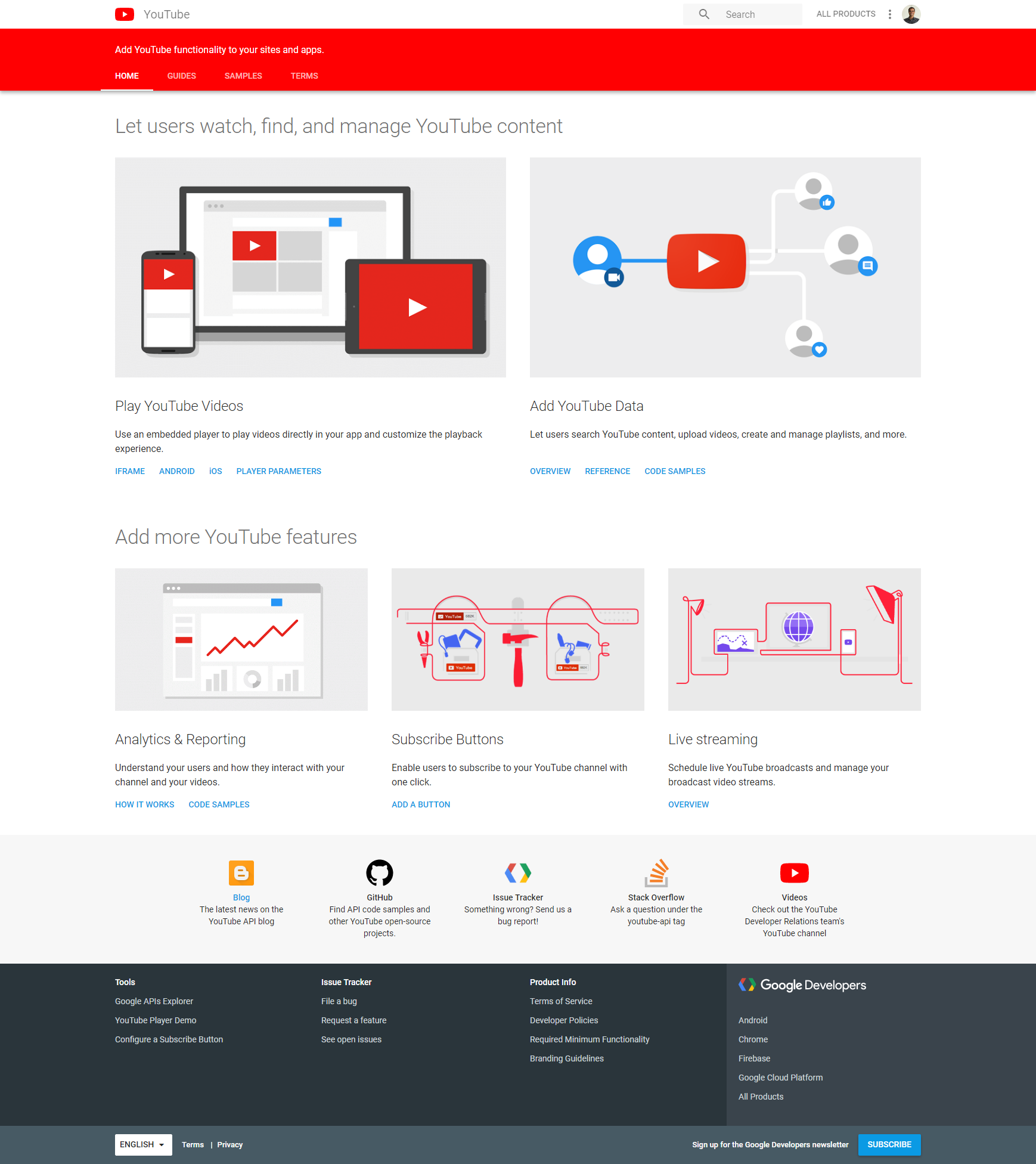 Figure 2: The YouTube developer portal home page clearly shows the available APIs and what can be done with each  - get playlist contents youtube data api figure 02 youtube developer portal - How To Get YouTube Playlist Contents from the YouTube Data API