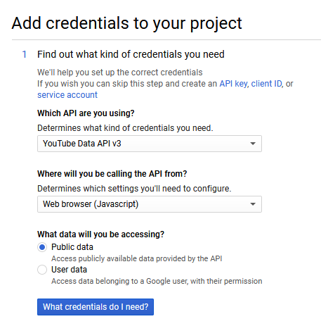 Figure 4: Choosing the right credentials for your application  - get playlist contents youtube data api figure 04 choosing the right credentials - How To Get YouTube Playlist Contents from the YouTube Data API