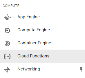 Accessing Google Cloud Functions via the main menu, in the Compute > Cloud Functions section