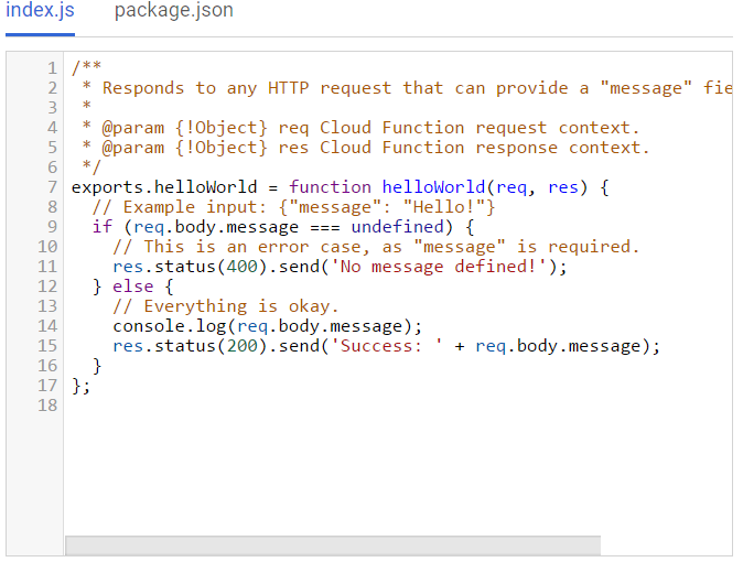 Inline Editor for Source Code option in the Create function screen.