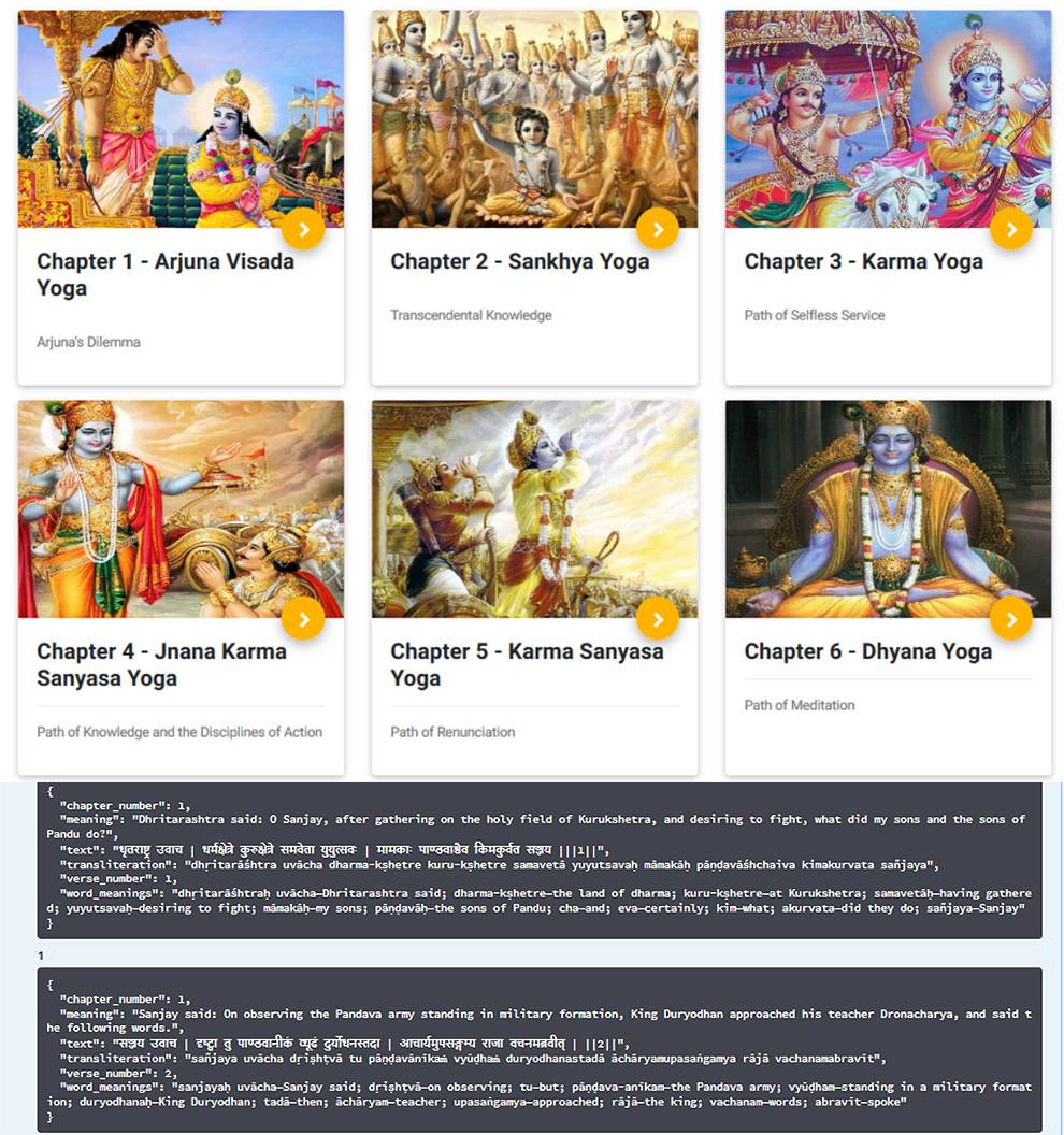 Retrieve chapters and verses from the Bhagavad Gita with this API