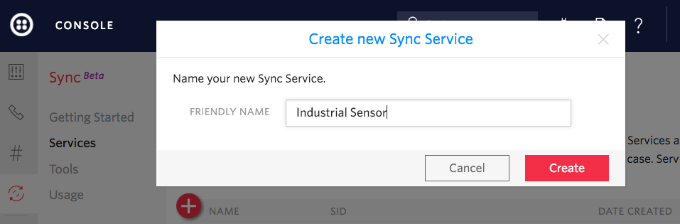 Create new sync service: Industrial Sensor