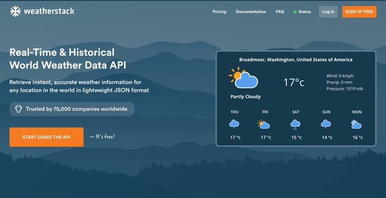 Home page of apilayer's weatherstack API service, a current, past and future forecast global weather data API