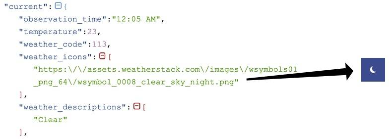 Response JSON data from weatherstack for the current condition includes a weather_icons URL argument, in the example a clear sky night rendered as a sliver of moon against a dark evening sky