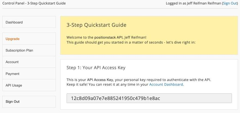 The positionstack API 3-Step Quickstart Guide for getting started with its batch geocoding API with embedded Open Street Maps. Shows Step 1: Your API access key.