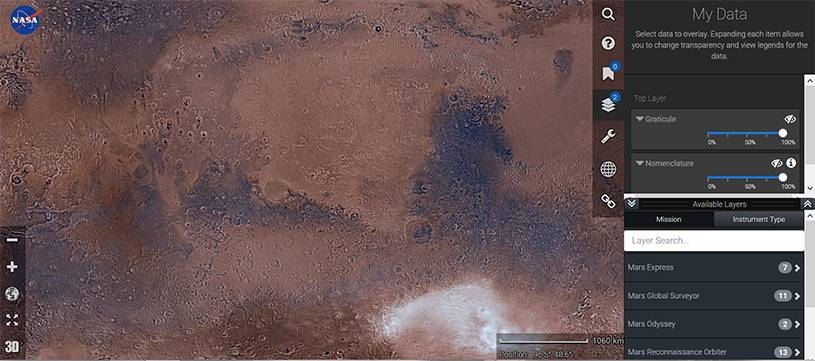 Mars Trek interactive map