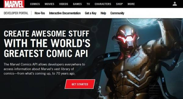 screenshot of Marvel Developer Portal
