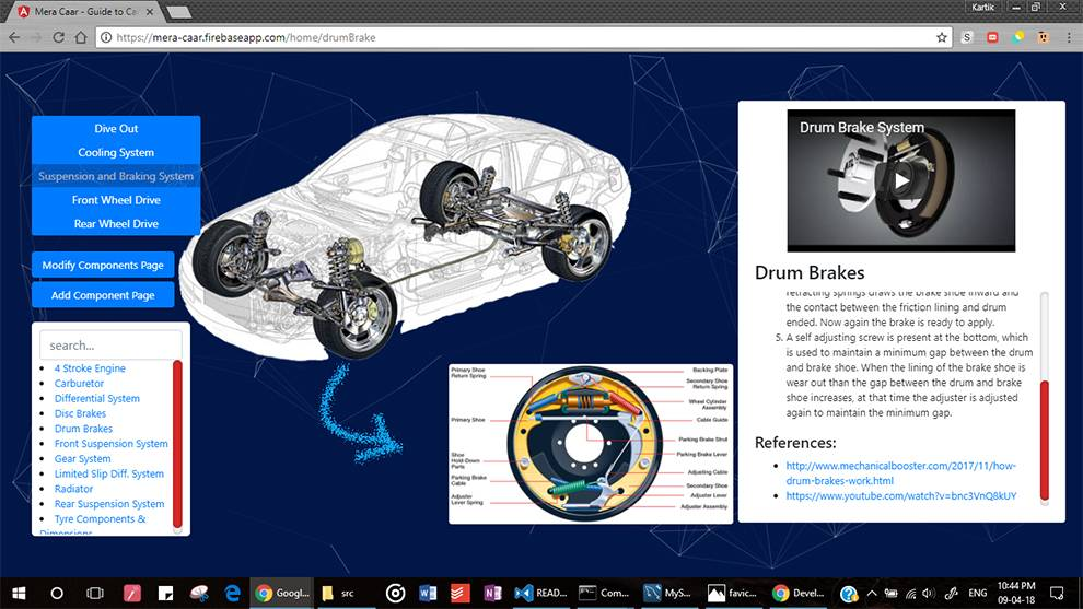 Get detailed views of car components with Mera Caar API