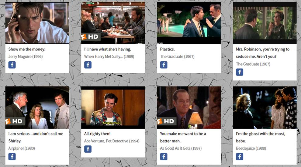 Here's a sampling of some choice quotes returned by the MovieQuotes API for comedies