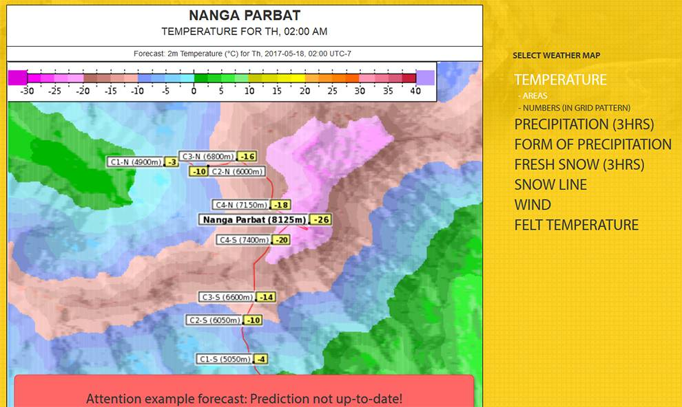 Example forecast data of Mount Nanga Parbat available from MetGIS APIs