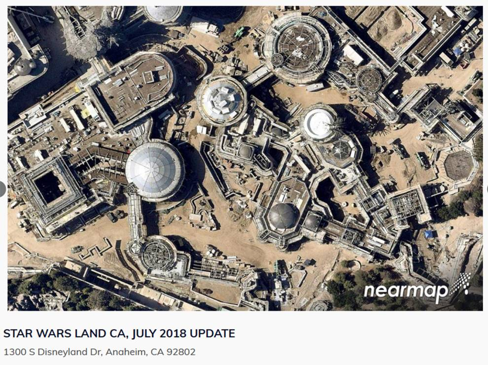 This is an HD aerial image of Star Wars Land construction at California's Disneyland