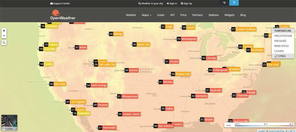 OpenWeatherMap provides several APIs for forecast and weather data by location