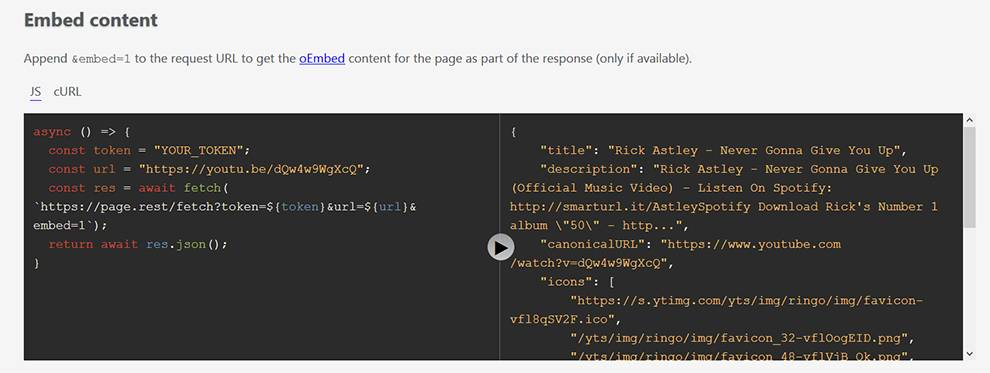 Page.REST API handles Selector queries, embedding, and Open Graph content requests