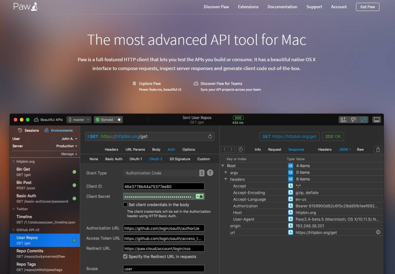 Paw 3 api tool for mac has been released programmableweb paw includes a variety of features such as code generators advanced support for cookies and sessions ssl client certificates import hypermedia api malvernweather Choice Image