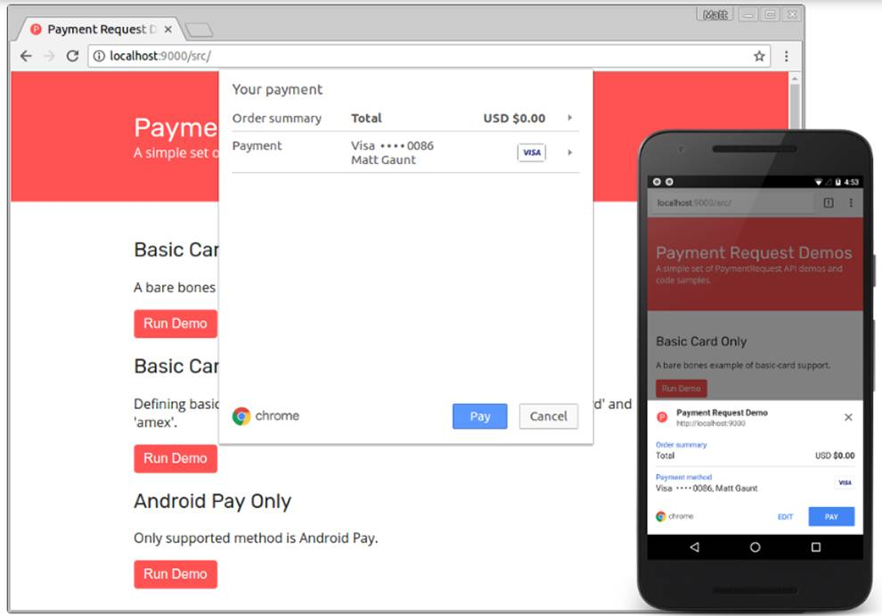 Payment Request API on desktop and mobile Chrome