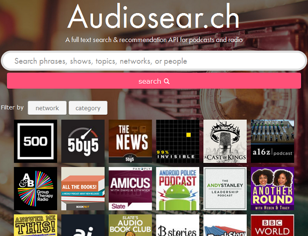 Audiosea.rch podcast search website screenshot