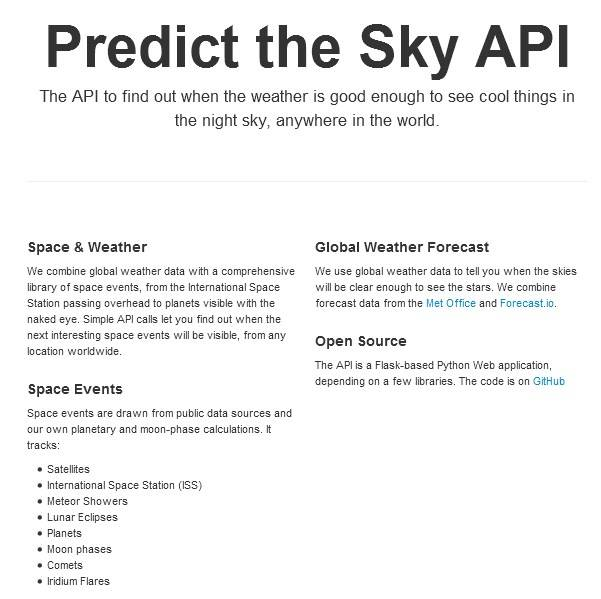 Predict the Sky API details